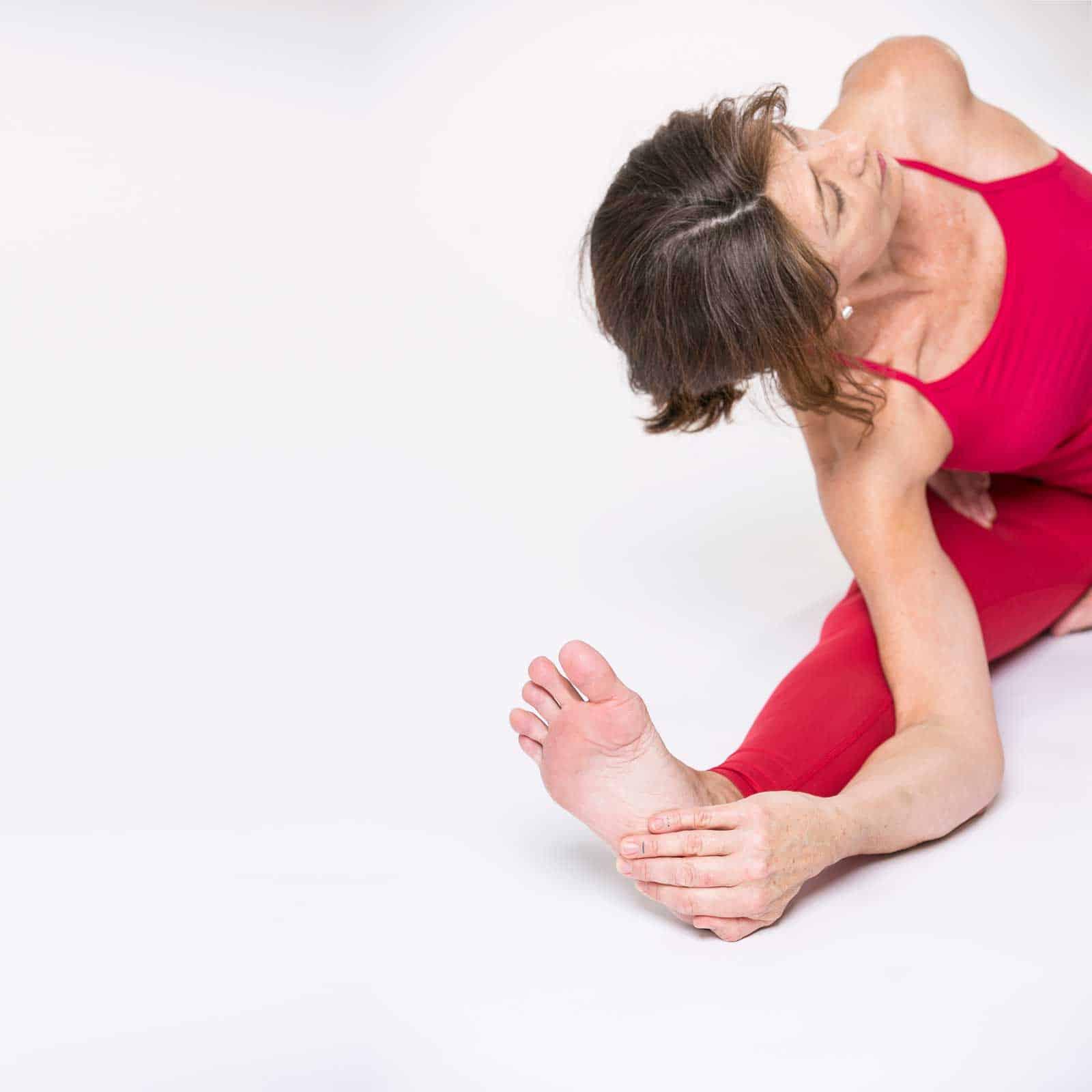 Sue Everett demonstrating a yoga teacher training pose
